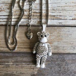 NEW✨ Betsey Johnson White CZ Teddy Bear Necklace